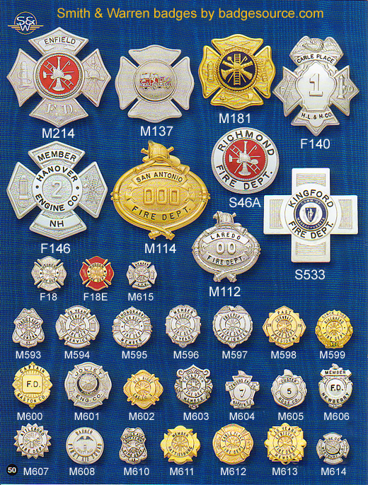 Fire service pins and badges